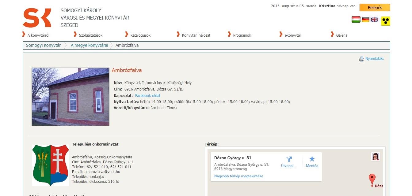 Közadatok közlése a KSZR szolgáltató helyek és a Somogyi-könyvtár honlapjain